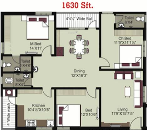Pavan Bankers Pride And Pavan Kesavs Pride (3BHK+3T (1,630 sq ft) Apartment 1630 sq ft)