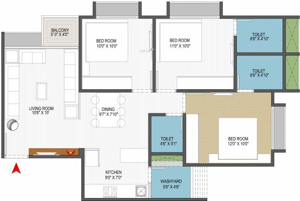 Sun South West (3BHK+3T (1,360 sq ft) Apartment 1360 sq ft)