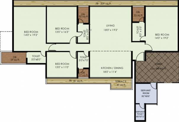 Akshar One Akshar (4BHK+4T (3,800 sq ft) + Servant Room Apartment 3800 sq ft)