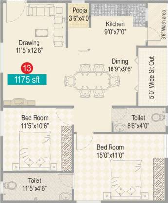 Sark Heights Two (2BHK+2T (1,175 sq ft) + Pooja Room Apartment 1175 sq ft)