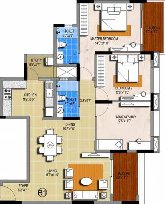 Sterling Ascentia (3BHK+2T (1,591 sq ft) Apartment 1591 sq ft)