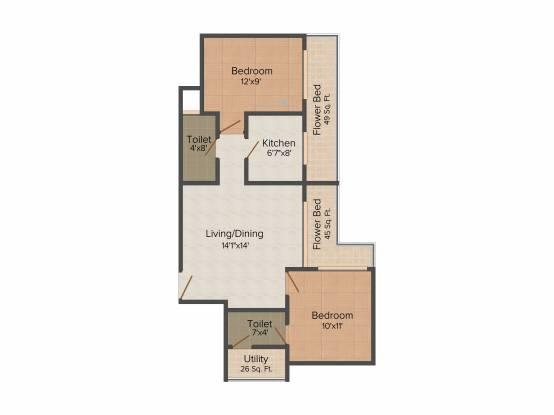 Ishwar Aura (2BHK+2T (1,190 sq ft) Apartment 1190 sq ft)