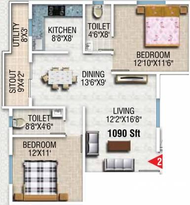SVP Sunshine (2BHK+2T (1,090 sq ft) Apartment 1090 sq ft)