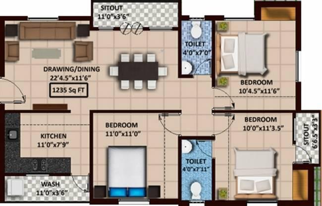 Sumangali Bliss (3BHK+2T (1,235 sq ft) Apartment 1235 sq ft)