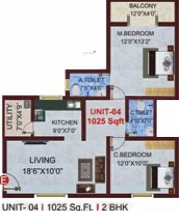 Sree Sai Bajaji Developers SSB Royal (2BHK+2T (1,025 sq ft) Apartment 1025 sq ft)