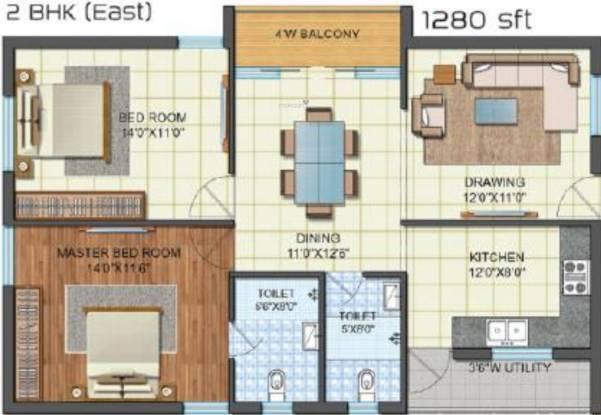 Pagadala Revanta (2BHK+2T (1,280 sq ft) Apartment 1280 sq ft)