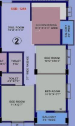 Srusti Elite (3BHK+2T (1,258 sq ft) Apartment 1258 sq ft)