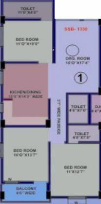 Srusti Elite (3BHK+3T (1,330 sq ft) Apartment 1330 sq ft)