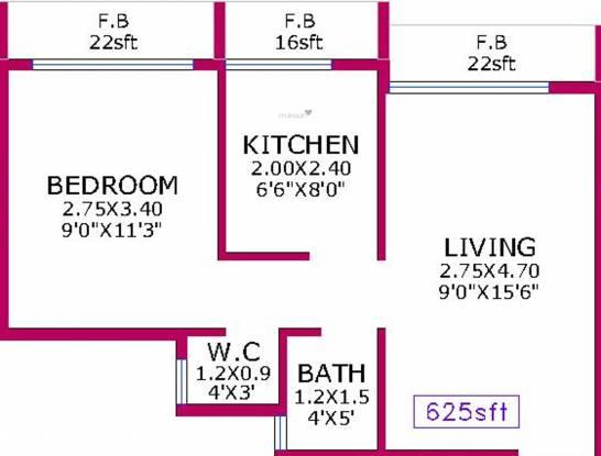 V3 Pratham (1BHK+1T (625 sq ft) Apartment 625 sq ft)