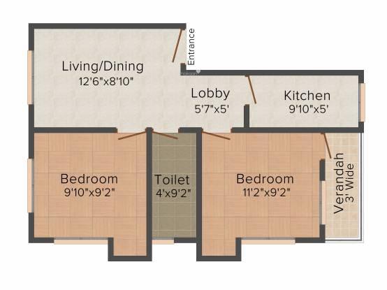 Maa 294 Purba Fulbagan (2BHK+2T (725 sq ft) Apartment 725 sq ft)