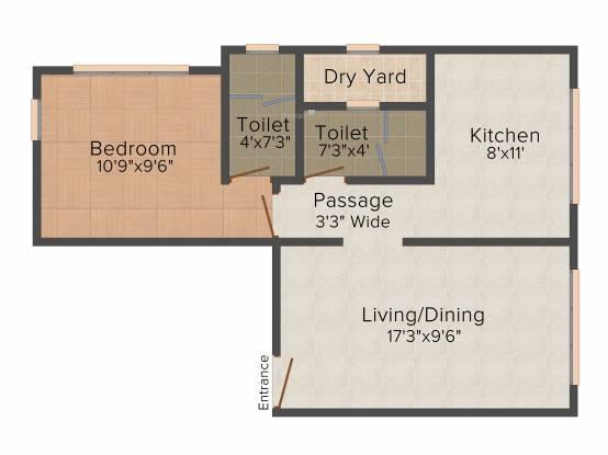 Heritage Shakuntala Mahal (1BHK+2T (792 sq ft) Apartment 792 sq ft)