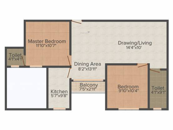 Spandan Glory (2BHK+2T (990 sq ft) Apartment 990 sq ft)