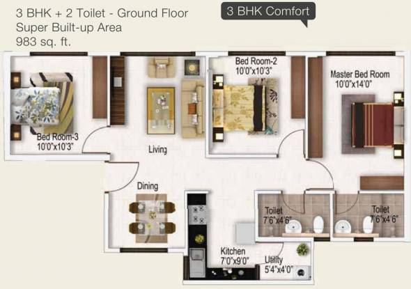 Provident Provident Freedom (3BHK+2T (983 sq ft) Apartment 983 sq ft)