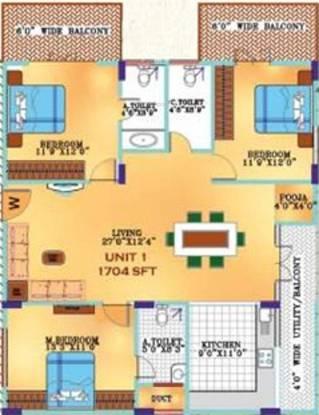Elegant Valley (3BHK+3T (1,704 sq ft) Apartment 1704 sq ft)