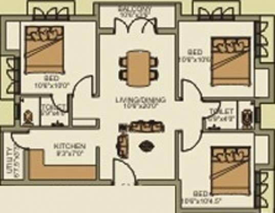 Poomalai Blossom (3BHK+2T (1,098 sq ft) Apartment 1098 sq ft)