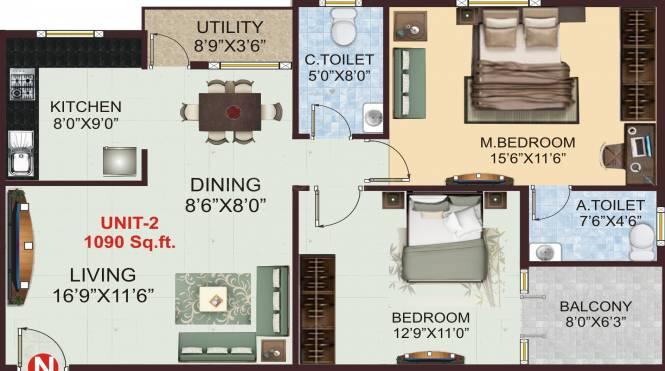 Shivaganga Hemavathi Dwarakamai (2BHK+2T (1,090 sq ft) Apartment 1090 sq ft)