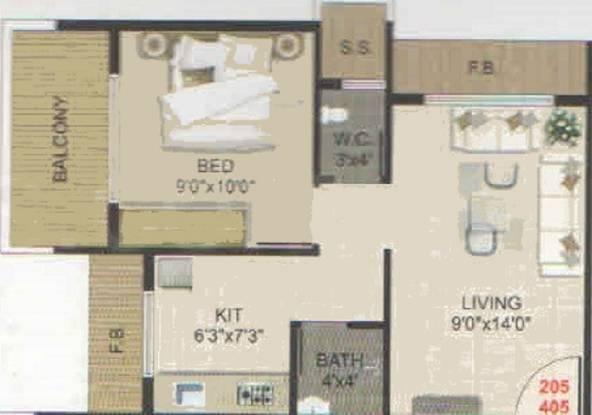 Bhaveshwar Avenue (1BHK+1T (665 sq ft) Apartment 665 sq ft)