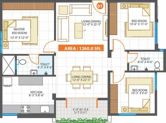 Propulsive Pinnacle (3BHK+2T (1,260 sq ft) Apartment 1260 sq ft)