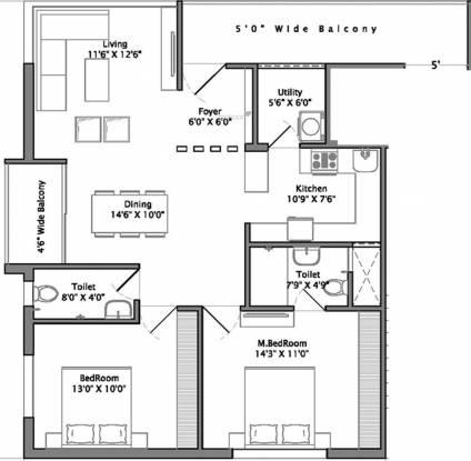Sri Ivy Crest (2BHK+2T (1,260 sq ft) Apartment 1260 sq ft)