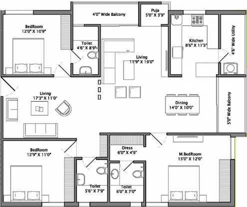 Sri Ivy Crest (3BHK+3T (1,900 sq ft) + Pooja Room Apartment 1900 sq ft)