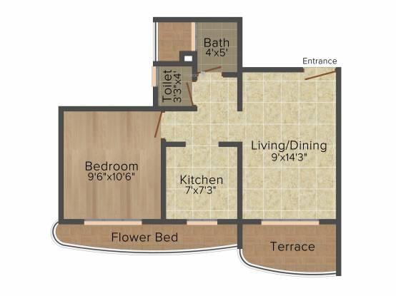 Paradise Sai Wonder (1BHK+1T (690 sq ft) Apartment 690 sq ft)