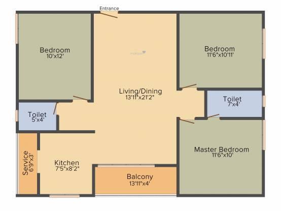 Romaa Pearl (3BHK+2T (1,183 sq ft) Apartment 1183 sq ft)