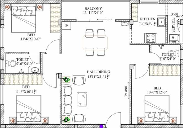 Romaa Pearl (3BHK+2T (1,184 sq ft) Apartment 1184 sq ft)