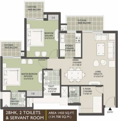 Satya The Hermitage (2BHK+2T (1,450 sq ft) + Servant Room Apartment 1450 sq ft)