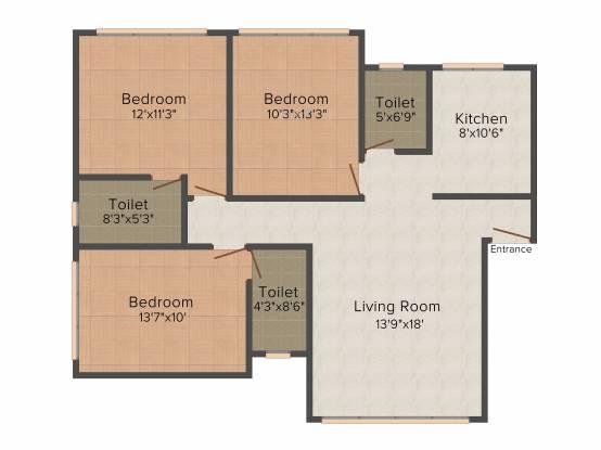 Kukreja Daffodil (3BHK+3T (936 sq ft) Apartment 936 sq ft)