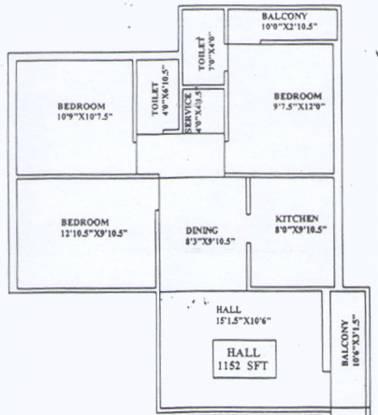 Chandrasekar North Kavarai Street (3BHK+2T (1,152 sq ft) Apartment 1152 sq ft)