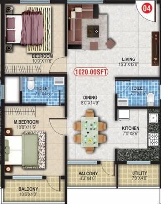 Balaji Sapthagiri Towers (2BHK+2T (1,020 sq ft) Apartment 1020 sq ft)