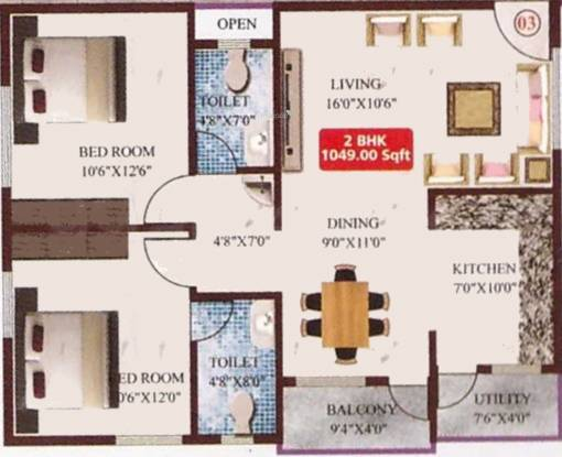 Sai Sri Aditya Nivas (2BHK+2T (1,049 sq ft) Apartment 1049 sq ft)