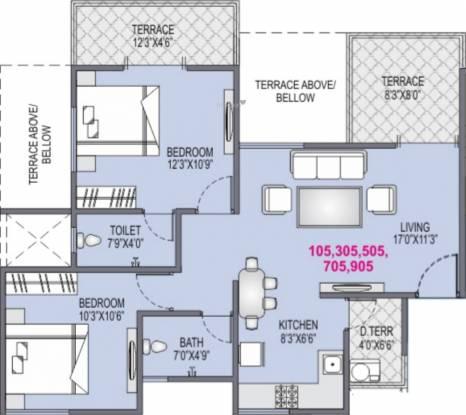Yash Platinum (2BHK+2T (1,031 sq ft) Apartment 1031 sq ft)