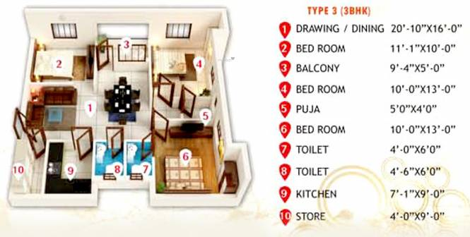 Ethics Ambience (3BHK+2T (1,676 sq ft) + Pooja Room Apartment 1676 sq ft)