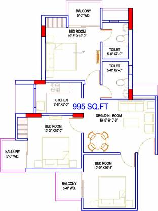 Migsun Twiinz (3BHK+2T (995 sq ft) Apartment 995 sq ft)