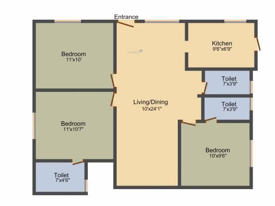 Oyester Pushpavanam (3BHK+3T (1,040 sq ft) Apartment 1040 sq ft)