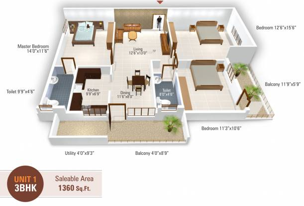 5 Elements Temple Bells Premier (3BHK+2T (1,360 sq ft) Apartment 1360 sq ft)