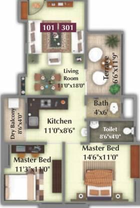 Nimhan Grace Residency (2BHK+1T (940 sq ft) Apartment 940 sq ft)