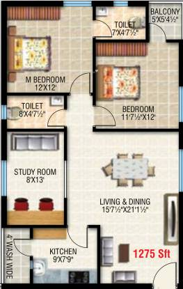 Vamsee Brindavan (2BHK+2T (1,275 sq ft) + Study Room Apartment 1275 sq ft)