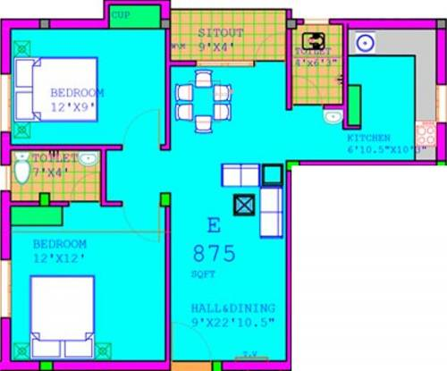 Annai Annai Livade (2BHK+2T (875 sq ft) Apartment 875 sq ft)