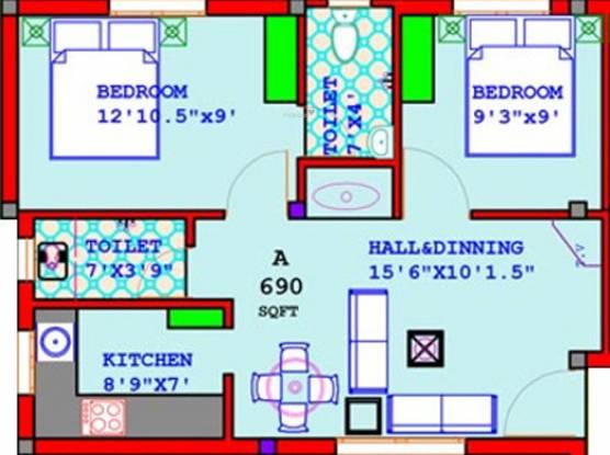 Annai Annai Oaks (2BHK+2T (690 sq ft) Apartment 690 sq ft)