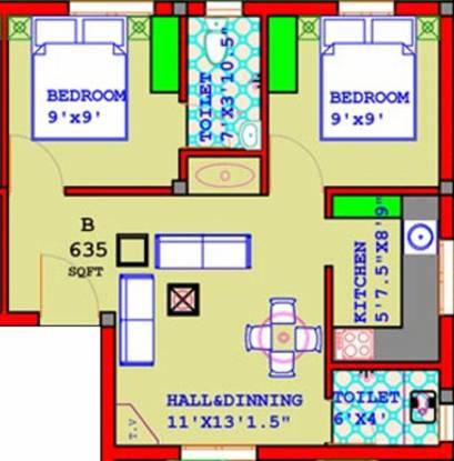 Annai Annai Oaks (2BHK+2T (635 sq ft) Apartment 635 sq ft)