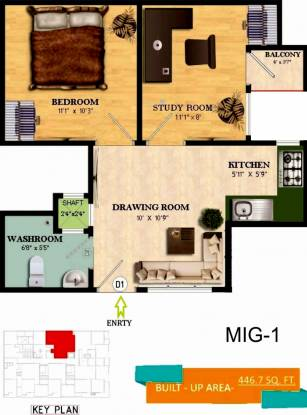 Invest Landmark One (1BHK+1T (446 sq ft) + Study Room Apartment 446 sq ft)