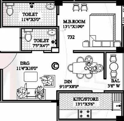 Lakhan Residency (1BHK+2T (732 sq ft) Apartment 732 sq ft)