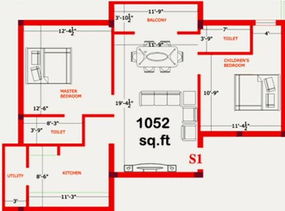 Skyline Ingress (2BHK+2T (1,052 sq ft) Apartment 1052 sq ft)