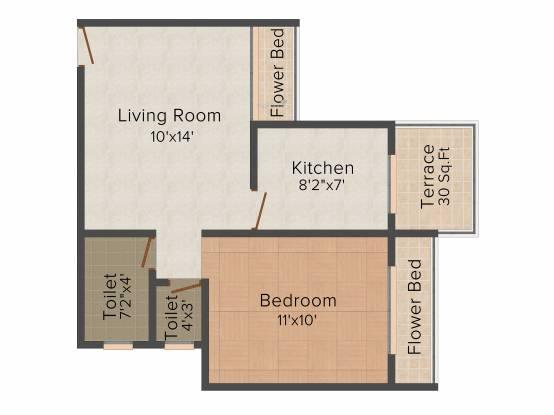 AR Saraswati (1BHK+1T (530 sq ft) Apartment 530 sq ft)
