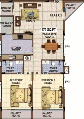 Kalyan Marvella (2BHK+2T (1,479 sq ft) Apartment 1479 sq ft)