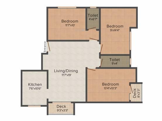 Amaar Aashirvad (3BHK+3T (1,400 sq ft) Apartment 1400 sq ft)