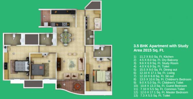 Vascon Forest County (3BHK+3T (2,015 sq ft)   Study Room Apartment 2015 sq ft)