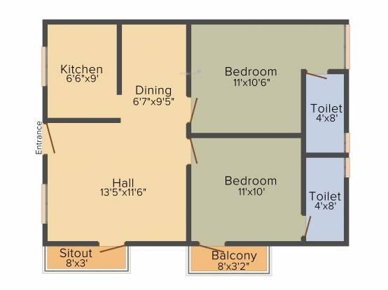 Le Moksha (2BHK+2T (925 sq ft) Apartment 925 sq ft)